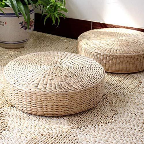Cuscini per pavimenti Tatami,Tessitura Rattan Futon,Pouf rotondo in rattan di paglia,Tappetino in paglia in stile giapponese per sedile esterno