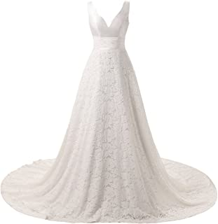 V-Neck A-Line Lace Wedding Dresses Backless Bridal Gowns Sweep Train