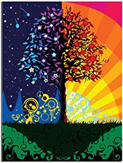 xuxut Fortune Tree Artwork DIY Digital Painting by Numbers Modern Wall Art Canvas Painting Acrylic Paint Unique Gift For Home Decor-60X75Cm_Ready_Frame