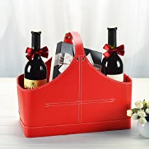 Leather Storage Basket,MDF Structure Wine Flowers Fruits Magazine Holder Rack/Bins,with Top Handle for Holiday Presents Gi...