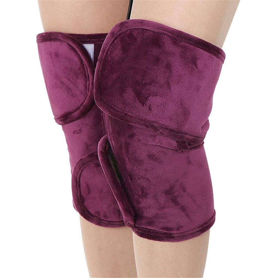 撤退規模ハチレッグマッサージャー、加熱されたデュアルカーフとフット&ニーパッドヒートセラピーホットコンプレッションウォームジョイントリリーフ膝の硬直の痛み、関節炎 (Color : Purple)