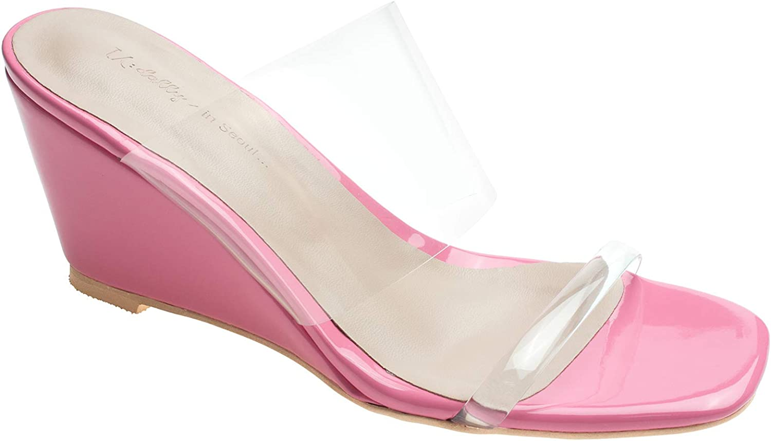 AnnaKastle Womens Transparent Clear Strap Wedge Heel Mule Sandals