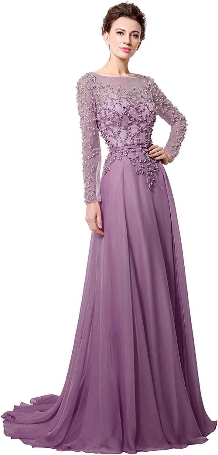 Clearbridal Long Prom Dress for Women 2020 A line Formal Evening Gown with Sleeves