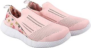KazarMax XXIV Ladies's/Women Peach Floral Slipon's Socks SneakersTrainers [WSS005] (Made in India)