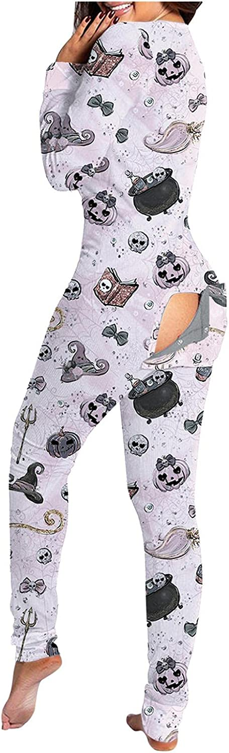AIHOU Halloween Jumpsuits for Women Skull Print Long Sleeve Functional Button-Down Pajamas Buttoned Flap Adult Sleepwear
