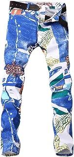 ZhixiaYS Denim Pants for Men, Men's Casual Printed Pocket Pants Jeans Slim Fit Bike Jeans