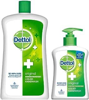 Dettol Original Germ Protection Handwash Liquid Soap Refill Jar, 900 ml with Free Dettol Handwash Pump, 200 ml (Any Variant)