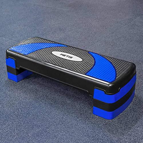 METIS Fitness Step – Justerbara höjder (10cm, 15cm & 20cm) | Aerobic Step - Hemma Gym Träningsredskap | Step-up box för träning | Stepbräda | Stepbänk | 2 färger (Svart/Blå)