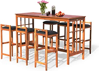 Tangkula 7-PCS Patio Bar Set, Outdoor Wooden Dining Table Set with 6 stools, Space Saving Conversation Set with Cushioned Seating for Patio, Garden, Backyard, Poolside (Wood)