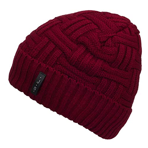 METOG Unisex Winter Knitting Beanie Hat Soft Stretch Cable Knit Men Hats  Wool Skull Cap Warm 8a5ce3cd948