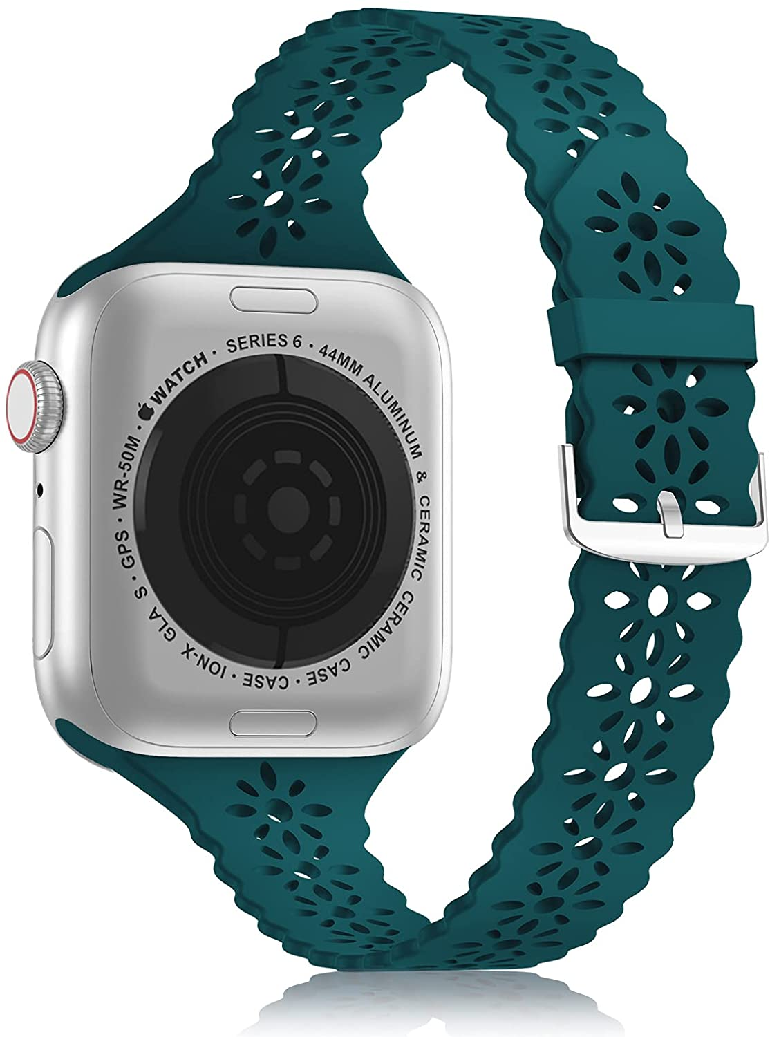 YAXIN Lace Silicone Band Compatible with Apple Watch Band 38mm 40mm 42mm 44mm Women, Slim Narrow Thin Hollowed-out Scalloped Sport Band Replacement Strap for iWatch Series 6 5 4 3 2 1 SE, Dark Green
