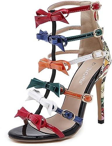 Kitzen Sandales à Talons pour Femmes Pompes à Talons Hauts De Femme avec Robe De SoiréE Chaussures De Courte Bowling Sandales Creuses