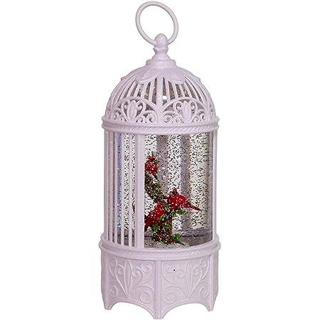 Kurt S. Adler 10.25-Inch Battery-Operated LED Swirl Cardinals Bird Cage Water Lantern, Multi