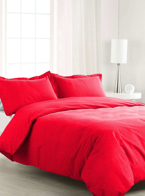 Scalabedding 500TC 100% coton égypcravaten 3pièces Housse de couette Full Queen Taille de solide Rouge
