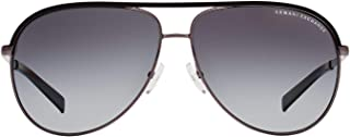 AX2002 Aviator Metal Sunglasses, Gunmetal/Black, 61 mm