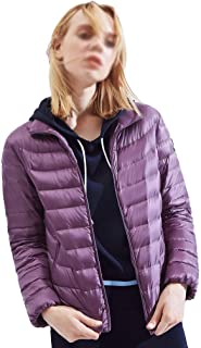 Warm Outerwear Women's Down Jacket Can Be Stored in The Collar, Regular Jacket, Portable Women's Winter Jacket Premium Insulation (Color : Purple, Size : XXXXL)