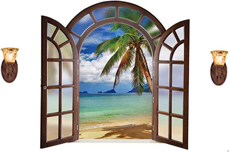 Winhappyhome Palm Beach Fake Window Wall Art Stickers For Bedroom Living Room Nursery TV Background Removable Decor Decals