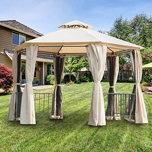 Garden Winds Replacement Canopy Top Cover for The Outsunny Hexagon Gazebo - RipLock 350