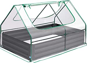 Quictent 49''x37''x36'' Extra-Thick Galvanized Steel Raised Garden Bed Planter Kit Box with Greenhouse 2 Large Zipper Wind...