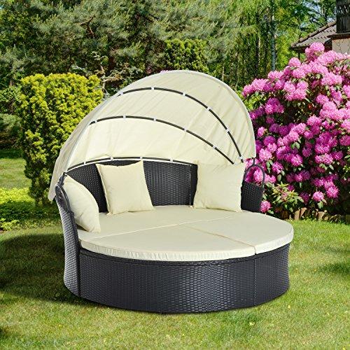 Outsunny® Sonneninsel Lounge Sonnenliege Gartenliege Garnitur Gartenset mit Dach, Polyrattan, 171x180x155cm - 2