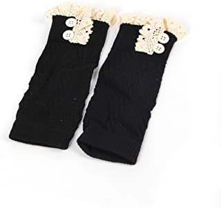 European American Fashion Comfortable Children Kids Baby Girl Crochet Knitted Lace Boot Cuffs Toppers Leg Warmer Socks - Black