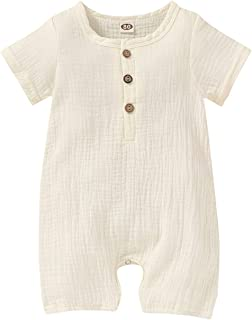 Happy Town Infant Baby Girl Boy Jumpsuit Cotton Linen Romper Short Sleeve One-Piece Bodysuit Infant Summer Clothes Outfits