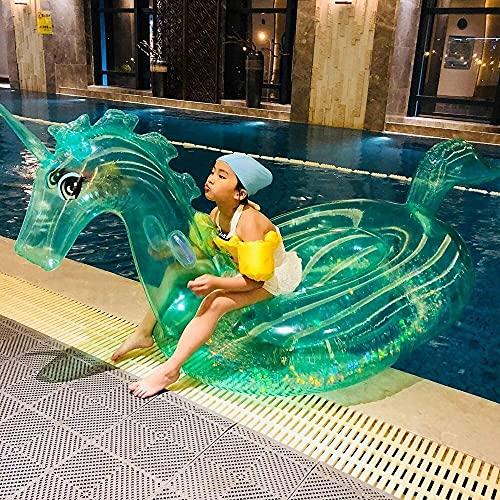 L.W.S Colchón Inflable Piscina Fila Flotante Cama de Aire Inflable Transparente Unicornio Montaje de Agua Adulto Piscina Inflable para Adultos Fila Flotante y Anillo de natación Lifebuoy