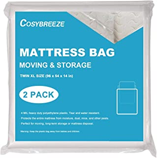 Cosybreeze Mattress Bag for Moving, Long-Term Storage and Disposal, [2-Pack] Twin XL Size 4 Mil Thick Heavy Duty Mattress Protector Covers Box Spring - 54 x 96 Inch