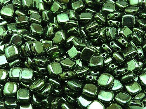 40pcs Tchèque Perles de verre Tuile à deux trous, Plat Carré 6x6x2.9mm Jet Green Luster