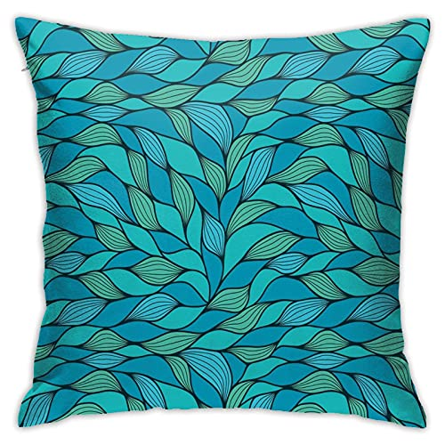 Teal Abstract Wave Ocean Marine Life Throw Pillow Covers Comfy Square Pillowcase Printed Decorative Cushion Cover for Sofa/Home/Living Room 18'x18' Pillow Case