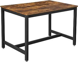 VASAGLE Table de Salle à Manger pour 4 Personnes, Table à Dîner, Table de Cuisine, 120 x 75 x 75 cm, Cadre Métallique Robu...