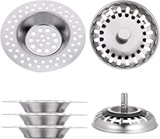 Taicanon 4PCS Sink Strainers Stainless Steel Kitchen Sink Strainers Stopper Waste Plug with Rubber Stopper for House Bathroom Kitchen Sinks