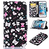 iPhone 6S case, Firefish Kickstand PU Leather Wallet Case with Card Slots [Scratch-Resistance] Magnetic Closure Slim Bumper Cover for Apple iPhone 6/6S 4.7' -Cat