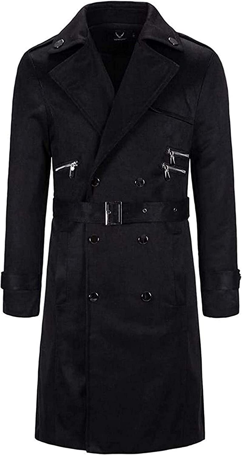 Mens Winter Overcoat Double Breasted Big & Tall Wool Blend Top Coat