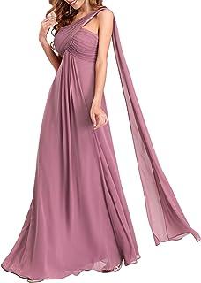 Ever-Pretty Vestito da Cerimonia Una Spalla Linea ad A Chiffon Lungo Formale Donna Vestiti da Sera 09816