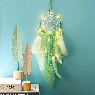 Traumfänger Grün mit 1M 10LED Lichterkette, FeiliandaJJ Feder Windspiele Nachtlicht Wand Hängend Mädchen Zimmer Decor Nacht Lampe für Kinder Baby Schlafzimmer Wohnzimmer (Grün)
