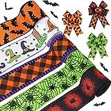 5 Rollos Cinta de Borde Cableado de Halloween 2,5 Pulgadas x 30 Yardas Cinta de Cuadros de Búfalo Sombrero de Bruja Murciélago Araña Cinta Cableada de Envoltura de Halloween para Fiesta