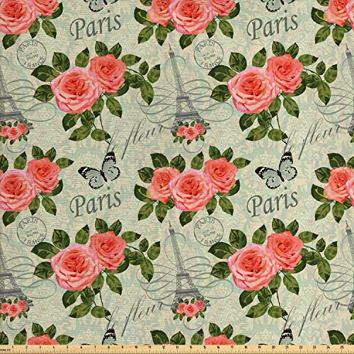 Ambesonne Shabby Flora Fabric by The Yard, Paris Lettering with Roses and Leaves Abstract Pale Blue Grey Backdrop, Decorative Fabric for Upholstery and Home Accents, 2 Yards, Salmon and Green