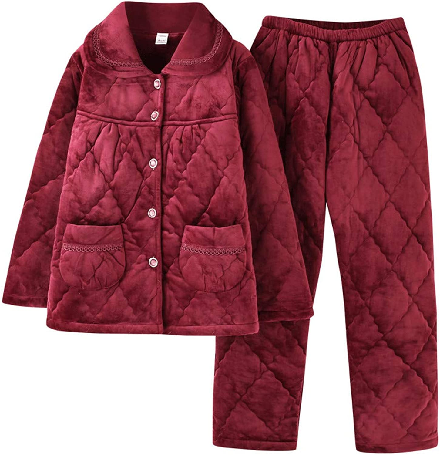 Lonimor Ladies Pajamas Autumn Winter Flannel Thick LongSleeved Home Service Suit