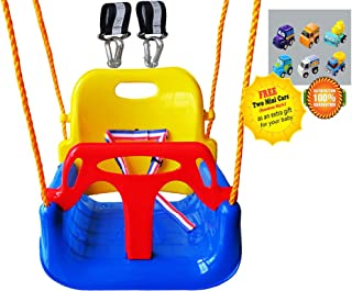Littlefun 3-in-1 Infant to Teenage Detachable Upgrade Version Swing Set for Home Garden Patio Indoors Outdoors Play(Blue Chair+Swing Hanging Kit)