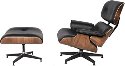 Modern Sources - Mid-Century Swivel Plywood Lounge Chair & Ottoman Real Premium Leather (Black/Walnut)