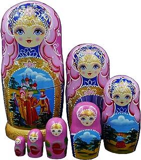 Moonmo 7pcs Beautiful Handmade Wooden Russia Nesting Dolls Gift Russian Nesting Wishing Dolls Matryoshka Traditional