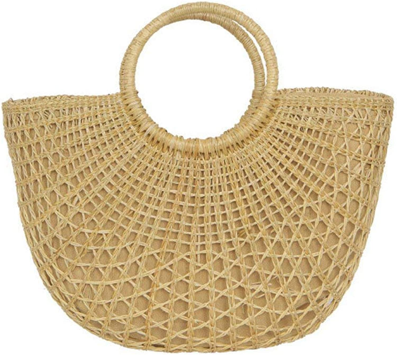 Wetietir Clutch Bag Fashion Straw Bags Women Large Tote Grass Hollow Out Rattan Shoulder Bag Factory Outlet (color   , Size   ) Dinner Purse (color   , Size   )