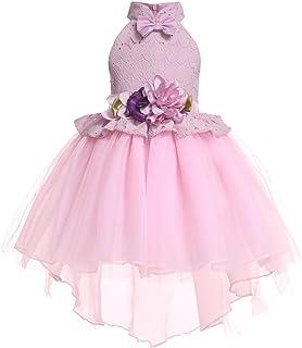 LYQ 女の子のレースのドレスフラワーガールドレススカート子供弓タキシードドレスプリンセスドレス (色 : ピンク, サイズ : 130#)