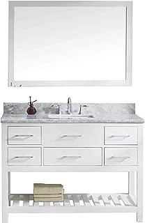Virtu USA Caroline Estate 48 inch Single Sink Bathroom Vanity Set in White w/ Square Undermount Sink, Italian Carrara White Marble Countertop, No Faucet, 1 Mirror - MS-2248-WMSQ-WH