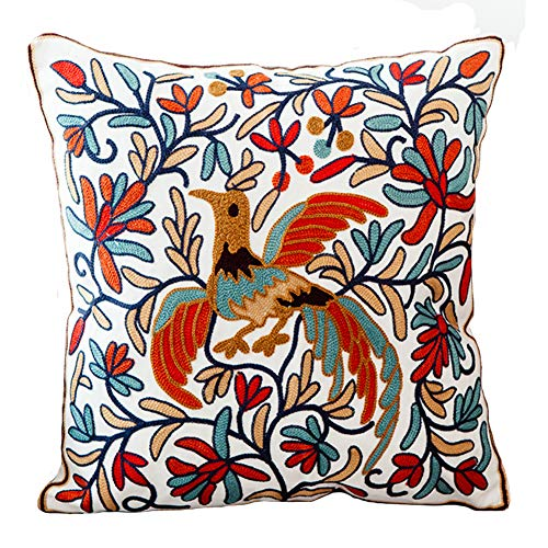 Boho Chic Style Bird and Flowers Pillow Cover