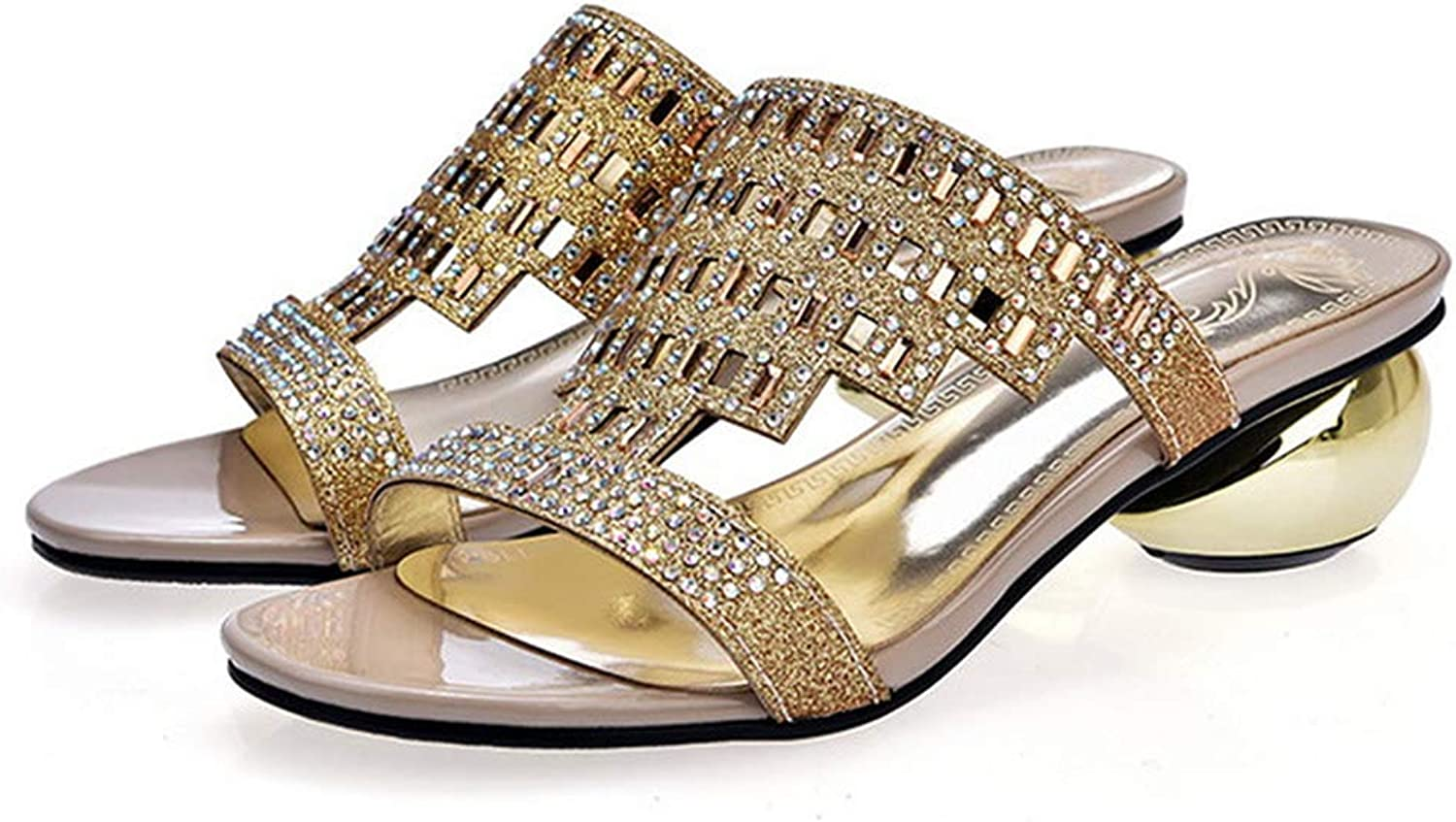 Eora-2sl Big Size 33-43 Outside Women Slippers Cut Outs Rhinestone Round Heels Ladies Mules
