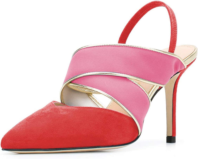 YDN Kvinnans Patchwork Pointed Toe hög hög hög klack Slingback Sandals halkar på pumpor Stilettos skor  förstklassig service