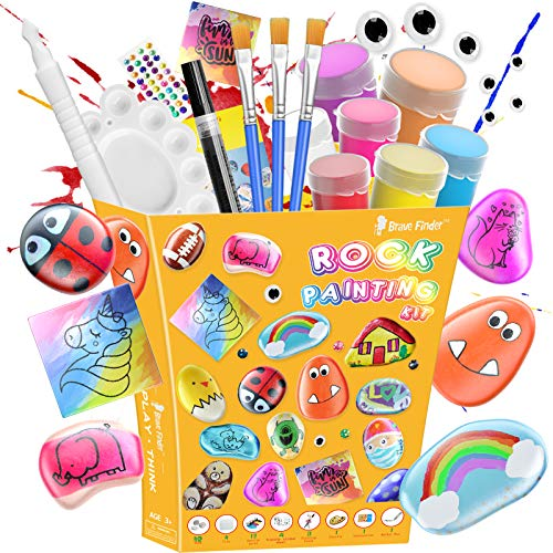 Rock Painting Kit for Kids - Crafts Toy and Arts Set Painting Kit, DIY Art Set Ideas for Kids Activities - Includes Rocks & Waterproof Paint, Best Gifts for Girls & Boys Ages 4-12
