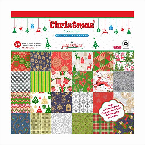 Paperhues Christmas Collection Scrapbook Papers 12x12' Pad, 24 Sheets.